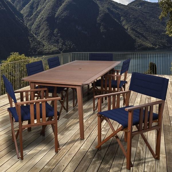 Amazonia Orlando Blue 7-piece Rectangular Patio Dining Set