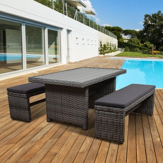 Atlantic Freeport Grey Synthetic Wicker, Polyester and Wood 3-piece Low Rectangular Patio Dining Set with Cushions