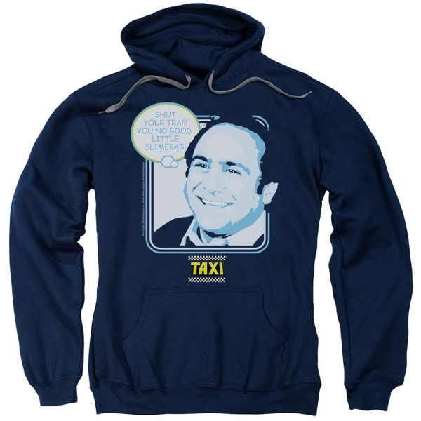 Taxi/Shut Your Trap Adult Pull-Over Hoodie in Navy