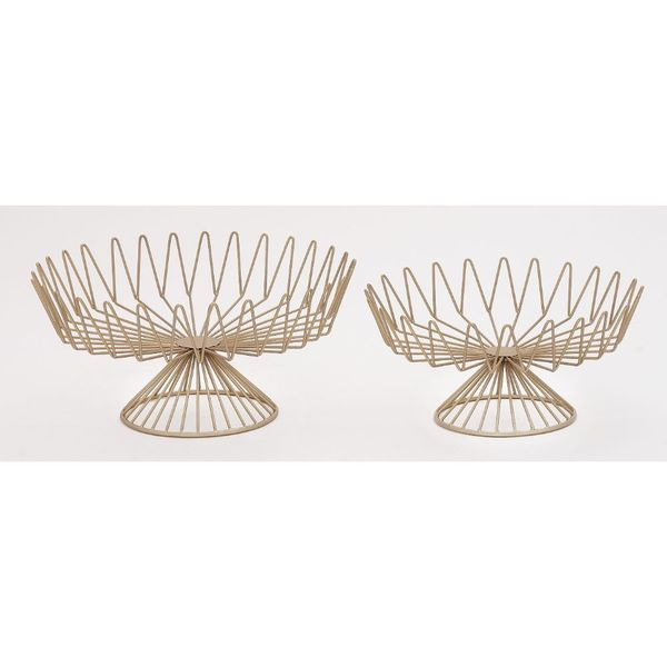 Metal Goldtone Cake Stand (Set of 2)