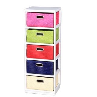 Entrada ETD-EN110683 White/Multicolor Wood Frame 5-drawer Cabinet