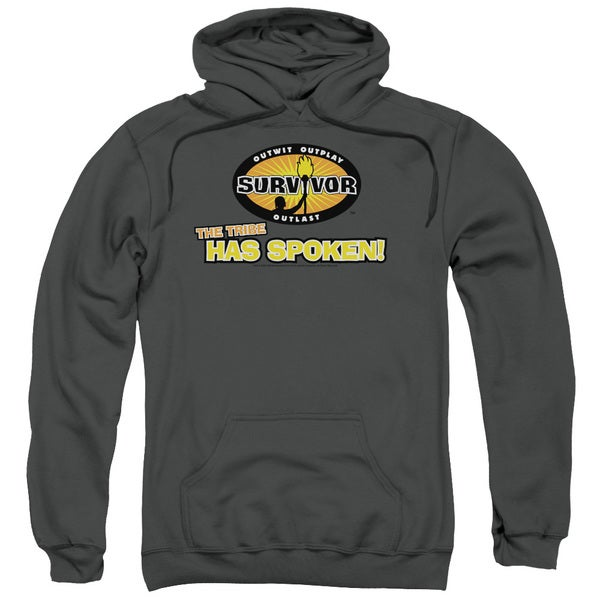 Survivor/Tribe Has Spoken Adult Pull-Over Hoodie in Charcoal