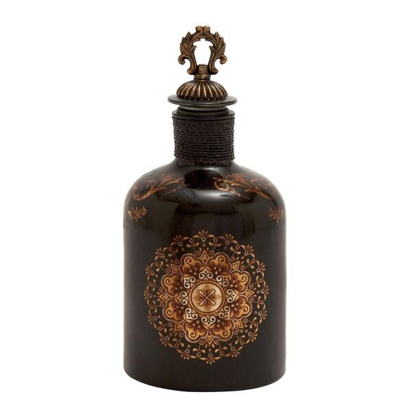 Ornate Multi-color Glass Stopper Bottle