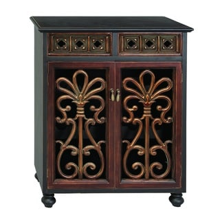 Carved Wood 30-inch Wine Cabinet