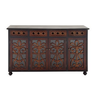 Brown Wood and Glass Cabinet
