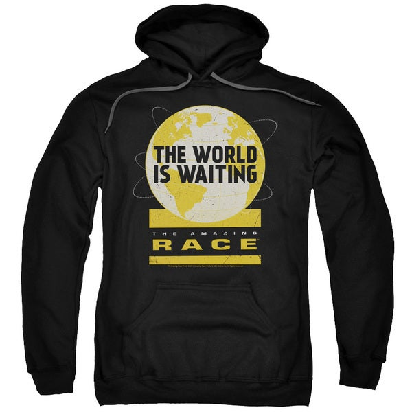 Amazing Race/Waiting World Adult Pull-Over Hoodie in Black