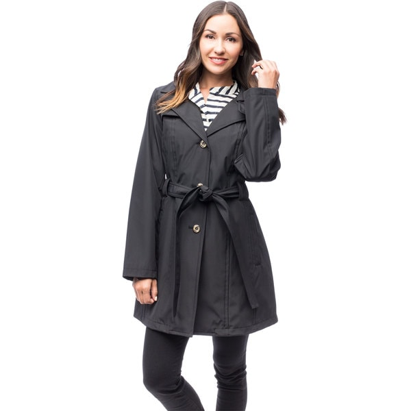 Larry Levine Women's Single Breasted Trench Jacket