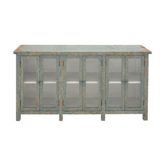Wood Glass Console Cabinet