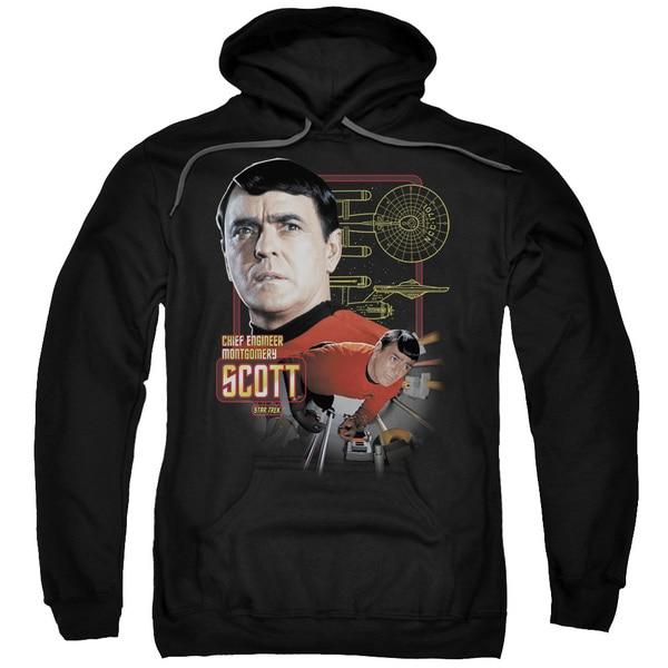 Star Trek/Chief Engineer Scott Adult Pull-Over Hoodie in Black