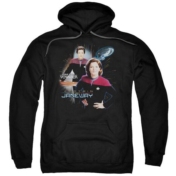 Star Trek/Captain Janeway Adult Pull-Over Hoodie in Black