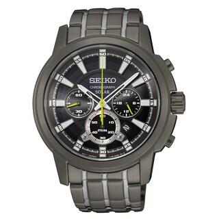 Seiko Men's Two-tone Black Bracelet Solar Chronograph Dial Watch