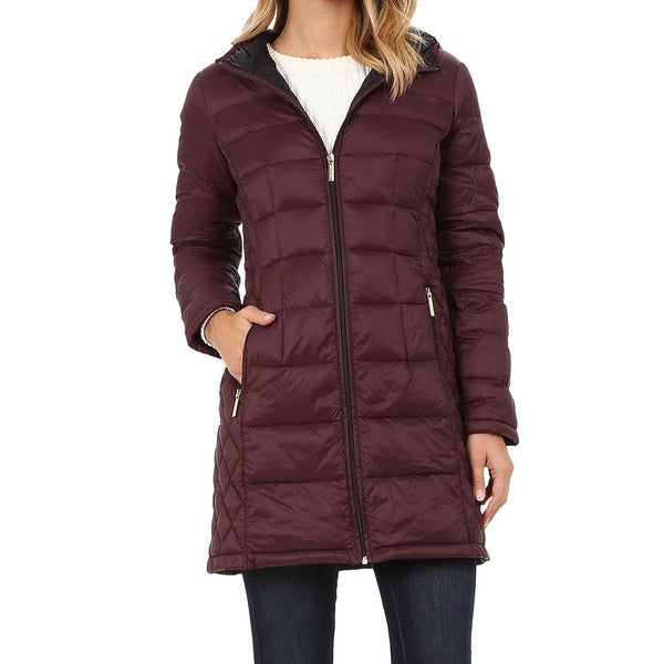 Michael Michael Kors Burgundy Quilted 3/4-length Down Coat