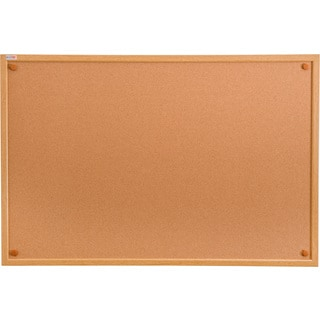 "Viztex Cork Bulletin Board 24"" x 18"" Oak Effect Frame"