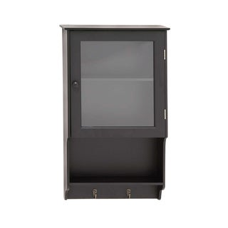 Contemporary Grey Wood and Glass 12-inch x 2.5-inch x 20-inch Wall Cabinet