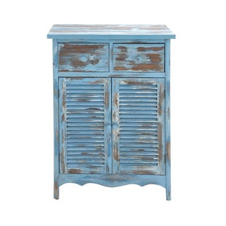 Blue/Brown Distressed Wood Rural-style Storage Cabinet