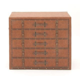 Stunning Wood Leather 5-drawer Cabinet