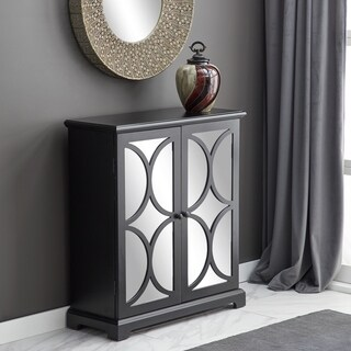 Black Wooden Storage Cabinet with Mirrored Doors