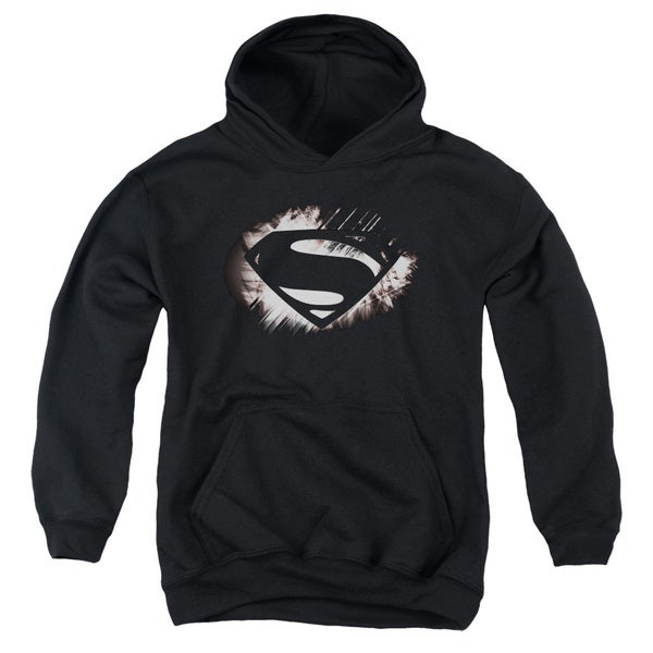 Man Of Steel/Mos Shield Fracture Youth Pull-Over Hoodie in Black