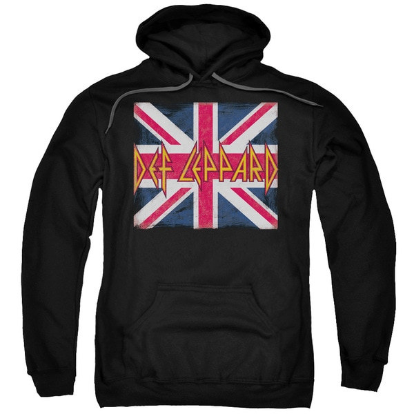 Def Leppard/Union Jack Adult Pull-Over Hoodie in Black