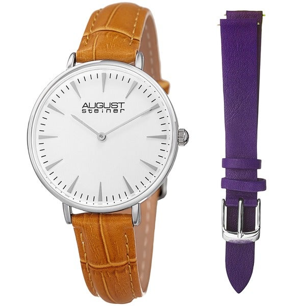 August Steiner Womens Japanese Quartz Interchangeable Leather Strap Watch