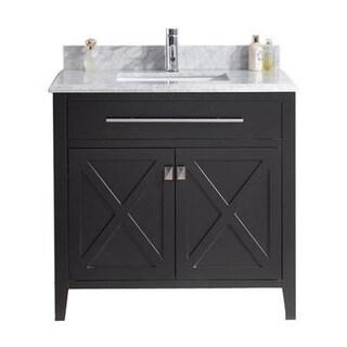 Wimbledon Collection Marble-top Wood Vanity Floor Cabinet
