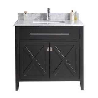 Wimbledon Collection Marble-top Wood Vanity Floor Cabinet