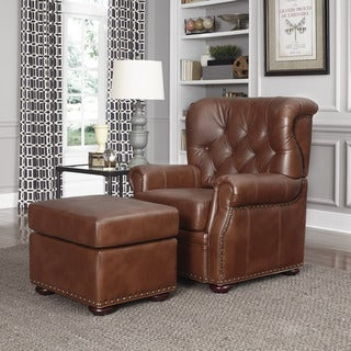 Miles Cognac Bonded Leather Stationary Chair and Ottoman