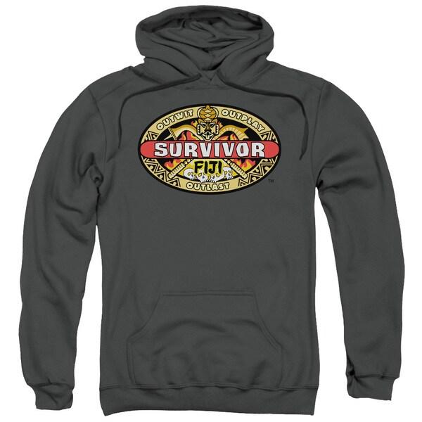 Survivor/Fiji Adult Pull-Over Hoodie in Charcoal