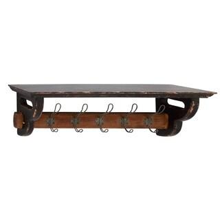 Wood and Metal Wall Shelf With Hooks