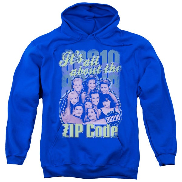 90210/Zip Code Adult Pull-Over Hoodie in Royal Blue
