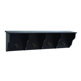 Dark Wood Wall Shelf With Hooks