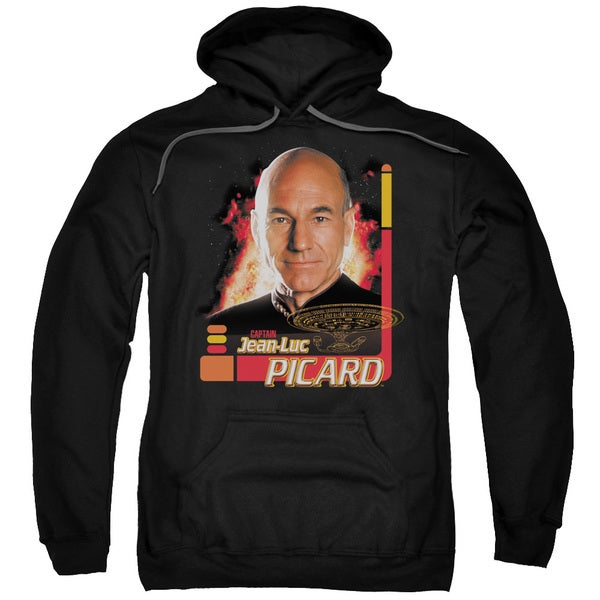 Star Trek/Captain Picard Adult Pull-Over Hoodie in Black