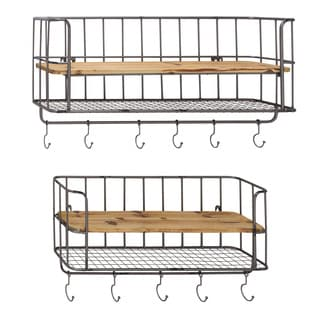 Metal and Wood Wall Shelf with Hooks (Set of 2)