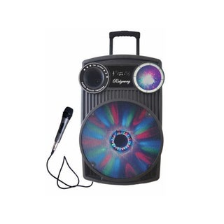Ridgeway QS-1221 12-inch Rechargeable Bluetooth DJ Speaker with Party Lights & Wired Mic