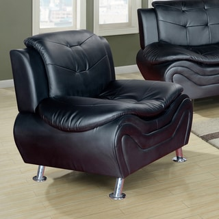 Ellena Black, Red, White Faux Leather, Wood Modern Living Room Chair