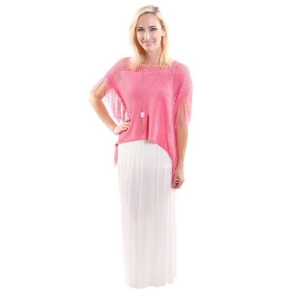 2 Piece Outfit: Hadari Women's Scoop Neck Knit Crop Fashion Top With Fringe and Lace Maxi Skirt