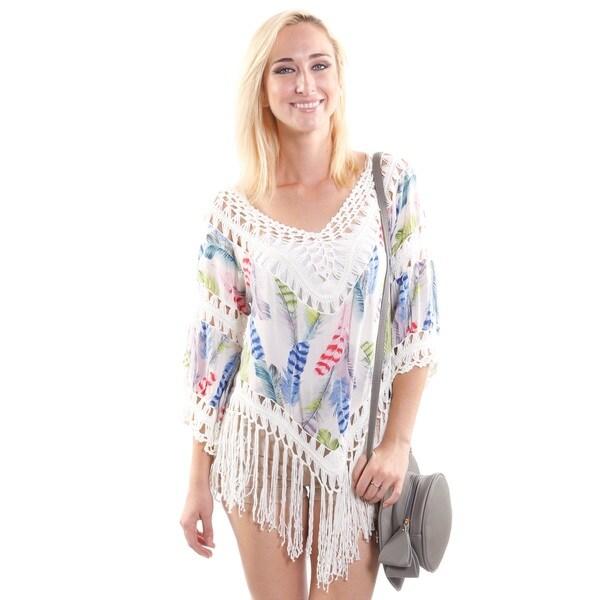 Hadari Women's Boho Crochet V Crop Fashion Top