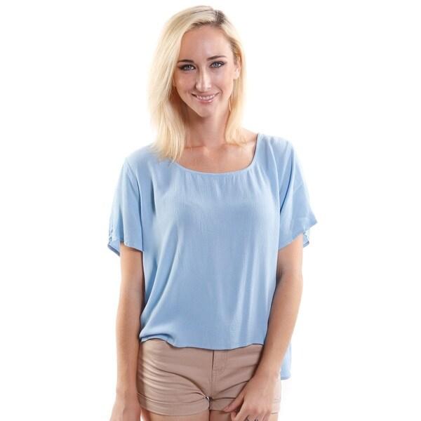 Hadari Women's Scoop Neck Loose Short Sleeve Fashion Top (One Size)
