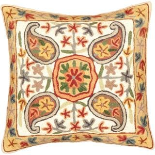 eCarpetGallery Kashmir Hand-made Beige/White Wool Needlepoint Cushion Cover (1'4 x 1'4)