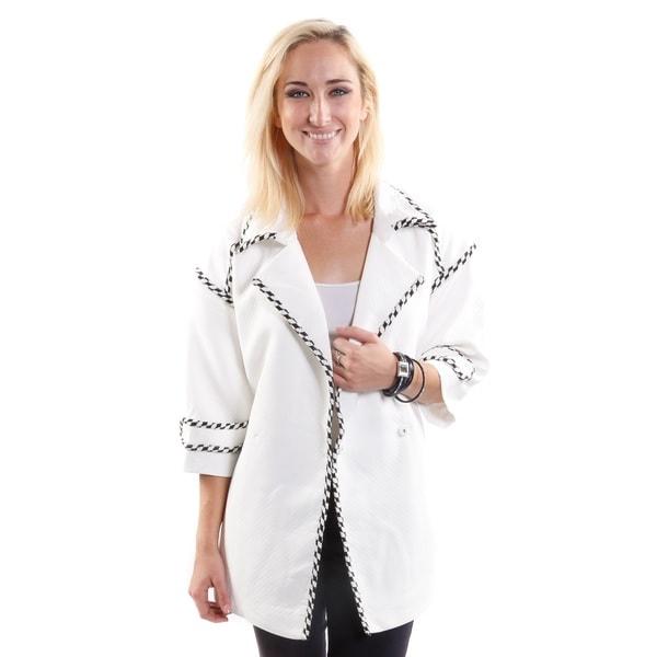 Hadari Women's Houndstooth Detail Fashion Blazer