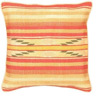 eCarpetGallery Ottoman Handmade Pink/Yellow Wool Kilim Cushion Cover (1'5 x 1'5)