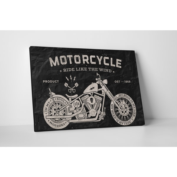Motorcycle Pop Art 'Ride Like the Wind' Gallery Wrapped Canvas Wall Art