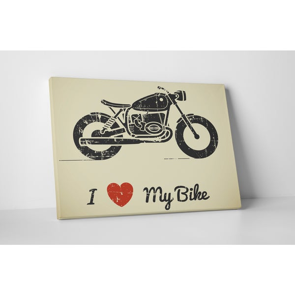 Motorcycle Pop Art 'I Love My Bike' Gallery Wrapped Canvas Wall Art