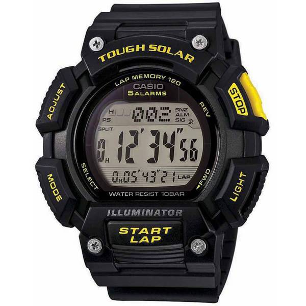 Casio Mens Tough Solar Runner Digital Black and Yellow Watch