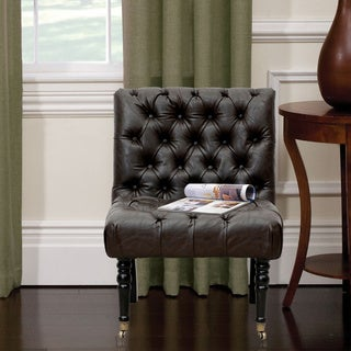 Iconic Home Hendrix Leather and Solid Oak Armless Button-tufted Accent Chair With Front-castered Legs