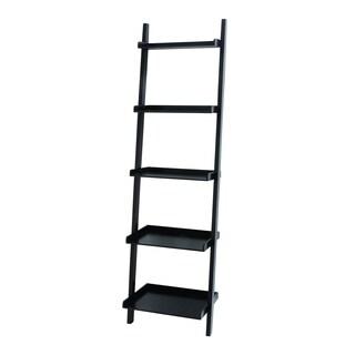 Black Wood 20-inch x 14-inch x 69-inch Compact Leaning Shelf