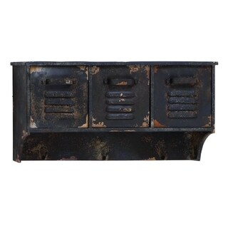 Distressed 23-inch Wide Metal Wall Shelf with Three Drawers