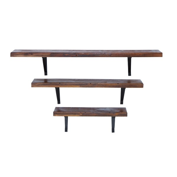 Dark Gratin Finish Metal Set of 3 Wall Shelves