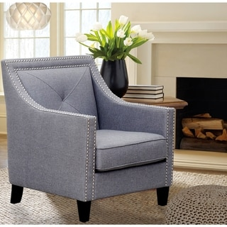 Iconic Home Kennedy Linen Single Tuft with Silver Nailhead Trim Solid Oak Legs Accent Chair