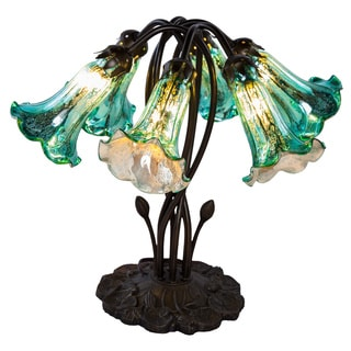 River of Goods Teal Colored Glass and Metal 6-Light Bronze Finish Downlight Table Lamp (18.0x16.75 inch)